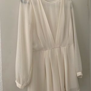 Pleated front white romper